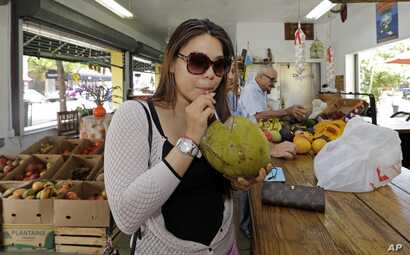 coconut water at a fruit store in the Little Havana area of Miami