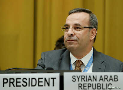 Syria's ambassador to the U.N. Hussam Aala attends as President of the Conference on Disarmament at the United Nations in Geneva, Switzerland, May 29, 2018.