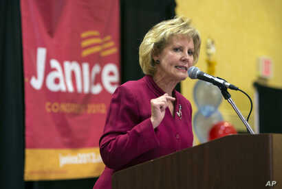 FILE - Republican nominee Janice Arnold-Jones speaks in Albuquerque, N.M. Arnold-Jones has joined the primary race for an open congressional seat in central New Mexico, which is set to become one of the most diverse in the country, held by U.S. Rep. ...