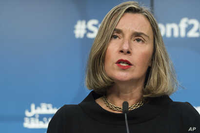 European Union foreign policy chief Federica Mogherini addresses the media during a conference 'Supporting the future of Syria and the region' at the EU Council in Brussels on Wednesday, April 25, 2018.