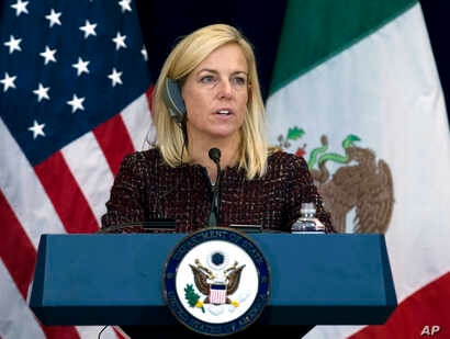 Secretary of Homeland Security Kirstjen Nielsen speaks during a news conference, after a US-Mexico meeting in Washington, Dec. 14, 2017.