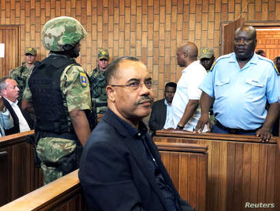 Mozambique's former finance minister Manuel Chang appears in court during an extradition hearing in Johannesburg, South Africa, Jan. 8, 2019.