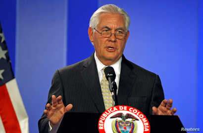 U.S. Secretary of State Rex Tillerson speaks during a news conference in Bogota, Colombia, Feb. 6, 2018