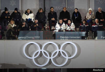 Country representatives, including U.S. Vice President Mike Pence and his wife Karen are seen at the opening ceremony of the 2018 Winter Olympics, in Pyeongchang, South Korea – Feb. 9, 2018