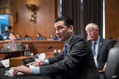 FILE - In this Thursday, Oct. 5, 2017 file photo, Scott Gottlieb, commissioner of the Food and Drug Administration, answers a question from a Senate committee examining the federal response to the opioid addiction crisis, at the Capitol in Washington...
