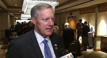 Republican Congressman Mark Meadows speaks to VOA Persian at Washington's Grand Hyatt hotel, June 14, 2017