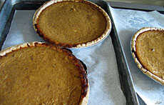 The Pilgrims and Indians had pumpkins and other gourds, but no real way to make pies out of them.  Even mashed, boiled pumpkin innards would not have tasted very good without sugar