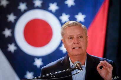 Sen. Lindsey Graham, R-S.C., speaks during a campaign event for Ohio Attorney General and Republican gubernatorial candidate Mike DeWine, Tuesday, Oct. 30, 2018, in downtown Cincinnati.