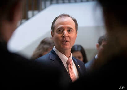Rep. Adam Schiff, D-Calif., ranking member of the House Intelligence Committee, speaks to reporters, March 22, 2018.