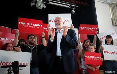 Jeremy Corbyn, leader of Britain's opposition Labour Party, campaigns in Manchester, Britain June 3, 2017.