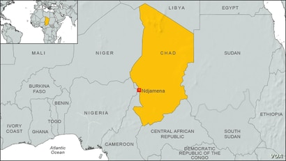 Map of Chad, Africa