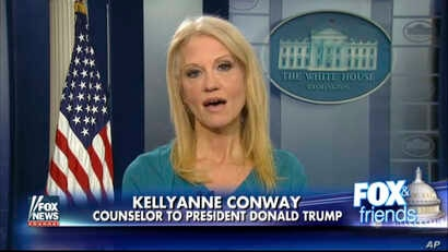 This frame grab from video provided by Fox News shows White House adviser Kellyanne Conway during her interview with Fox News Fox and Friends, Feb. 9, 2017, in the briefing room of the White House in Washington.