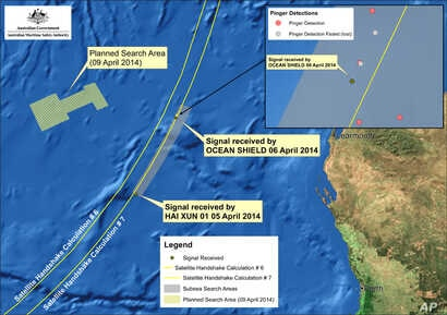 Image provided by the Joint Agency Coordination Center on April 9, 2014, shows a map indicating the locations of signals detected by vessels looking for signs of the missing Malaysia Airlines Flight 370 in the southern Indian Ocean.