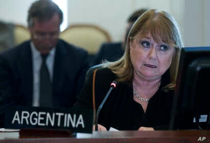 Argentina's Foreign Minister Susana Malcorra speaks at the Permanent Council of the Organization of American States in Washington,  April 3, 2017.