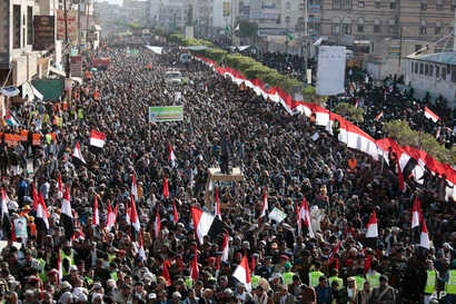 Supporters of Shiite Houthi rebels attend a rally in Sanaa, Yemen, Tuesday, Dec. 5, 2017. The killing of Yemen's ex-President Ali Abdullah Saleh by the country's Shiite rebels on Monday, as their alliance crumbled, has thrown the nearly three-year ci...