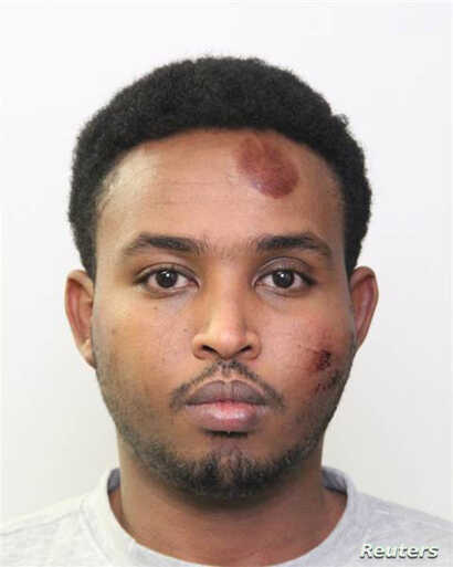 Abdulahi Hasan Sharif, 30, a Somali immigrant, is shown in this police booking photo provided in Edmonton, Alberta, Canada, Oct. 2, 2017.