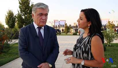 First Deputy Foreign Minister Ilhom Nematov, Uzbekistan's former special envoy on the neighboring countries, speaks with VOA's Navbahor Imamova in Shahrisabz, Uzbekistan, Sept. 6, 2018.