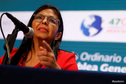 Venezuelan Foreign Minister Delcy Rodriguez speaks during a news conference on the sidelines of the OAS 47th General Assembly in Cancun, Mexico, June 20, 2017.