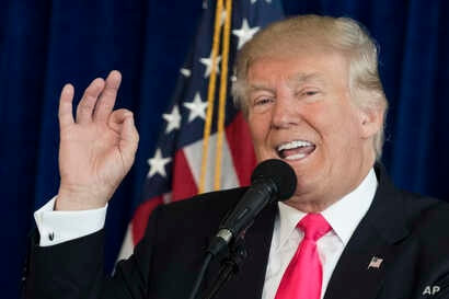 Republican presidential candidate Donald Trump speaks during a news conference at Trump National Doral, July 27, 2016, in Tampa, Fla.