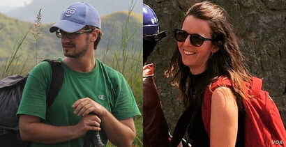 This composite image made from photos on their respective Facebook pages shows UN workers Michael Sharp, left, and Zaida Catalan.  The two are among six people missing from Congo's Kasai region since March 12, 2017.