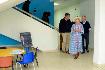 Singer Madonna visits the Mercy James Centre for Pediatric Surgery and Intensive Care in Blantyre, Malawi, July 16, 2018.