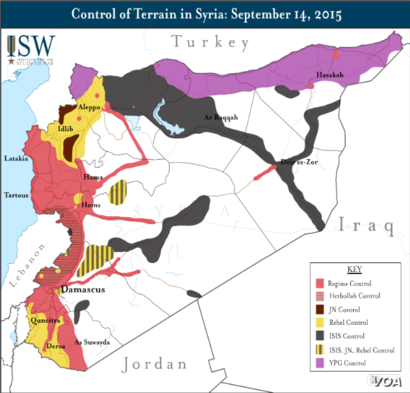 Map of control of terrain in Syria as of September 14, 2015.  The regime controls only those areas marked in red.  Courtesy: Institute for the Study of War