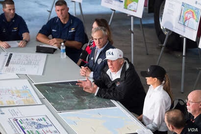 "President Donald J. Trump and First Lady Melania Trump, joined by Texas Governor Greg Abbott, FEMA Administrator William ""Brock"" Long and representatives of the Red Cross, U.S. Coast Guard, local law enforcement and utility company officials, att..."