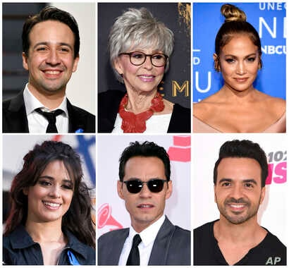 """FILE - Lin-Manuel Miranda, top row from left, Rita Moreno, Jennifer Lopez, and bottom row from left, Camilla Cabello, Marc Anthony and Luis Fonsi are a few of the musicians who participated in the new original song, """"Almost Like Praying"""" to help ra..."""