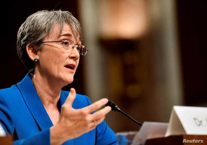 U.S. Secretary of the Air Force Nominee Heather Wilson testifies before the Senate Armed Services Committee, as a part of the confirmation process on March 30, 2017.