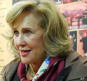 Susan Loewenberg, executive producer of LA Theater Works is in the lobby of Peking University's theater before a performance of Top Secret: the Battle for the Pentagon Papers, December 2, 2011