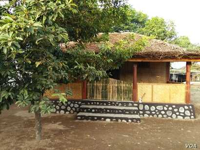 A wooden house in Prawira Village, North Lombok, still intact after the quake.