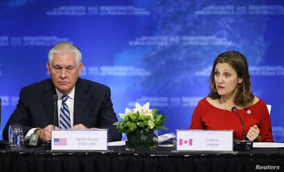 U.S. Secretary of State Rex Tillerson speaks with Canada's Minister of Foreign Affairs Chrystia Freeland during the Foreign Ministers' Meeting on Security and Stability on the Korean Peninsula in Vancouver, British Columbia, Canada, Jan. 16, 2018...