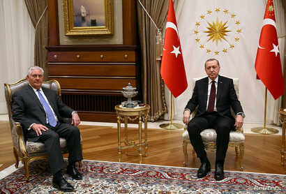 Turkish President Recep Tayyip Erdogan meets U.S. Secretary of State Rex Tillerson in Ankara, Turkey, Feb. 15, 2018.