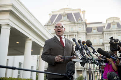 National Security Adviser H.R. McMaster speaks to members of the media outside the West Wing of the White House, May 15, 2017, in Washington.