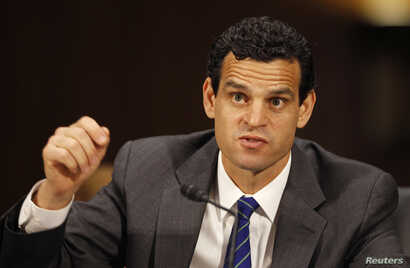"""Under Secretary for Terrorism and Financial Intelligence of the U.S. Treasury Department David Cohen testifies before the Senate Homeland Security and Governmental Affairs Committee in Washington July 17, 2012. A """"pervasively polluted"""" culture at HSB..."""