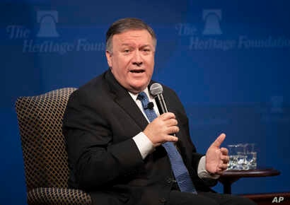 Secretary of State Mike Pompeo speaks at the Heritage Foundation, a conservative public policy think tank, in Washington, Monday, May 21, 2018.