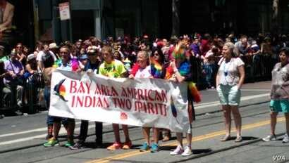 San Francisco, California's two spirit contingent marches at the San Francisco Pride parade, June 2014.