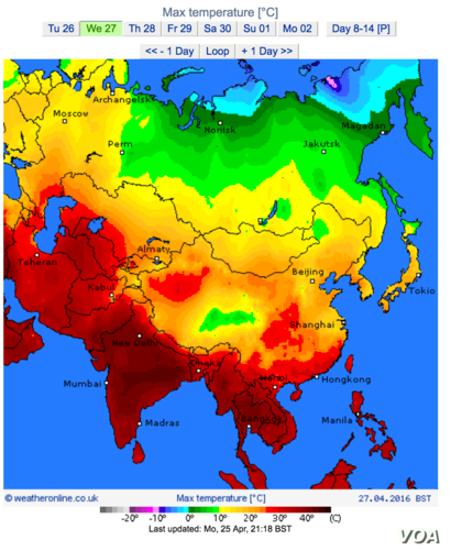 This map from NASA shows land surface temperatures throughout Asia.