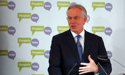 Britain's former Prime Minister Tony Blair makes a speech on Brexit at the British Academy in London, Dec. 14, 2018.