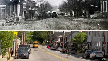 York Springs in the mid-19th century, at top, and the town of 800 residents today. (M. Kornely/VOA)