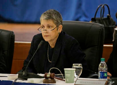 University of California President Janet Napolitano listens during a meeting of the Board of Regents, May 18, 2017, in San Francisco.