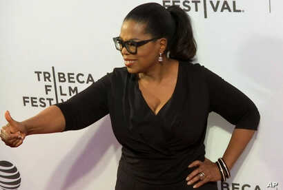 "In this image made from a video, Oprah Winfrey attends ""Greenleaf"" premiere at Tribeca Film Festival, Wednesday, April 20, 2016, in New York."