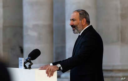 FILE - In this file photo dated Oct. 5, 2018, Armenian Prime Minister Nikol Pashinian delivers a speech in Paris.
