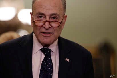 Senate Minority Leader Chuck Schumer, D-N.Y., speaks to reporters at the Capitol in Washington, Jan. 29, 2019.