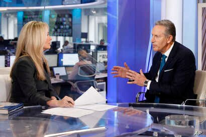 """Former Starbucks CEO Howard Schultz is interviewed by FOX News Anchor Dana Perino for her """"The Daily Briefing"""" program, in New York, Jan. 30, 2019. Schultz said he's flirting with an independent presidential campaign that would motivate voters turned..."""