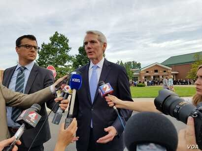Senator Rob Portman, Republican of Ohio, blames the North Korean regime for the death of Otto Warmbier, who was held captive in North Korea for more than a year and died after returning home in a coma last week. (Photo: Ham Jiha / VOA Korean Service)...