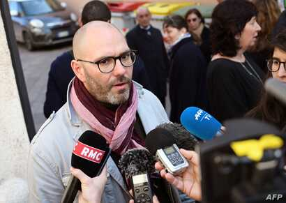"French victim of sexual abuse, Francois Devaux, also president of the French association of victims of priests abuse ""La Parole Liberee"" (Freed Speech), addresses the media outside the entrance of the Paul-VI residence at  the Vatican, Feb. 20, 2019...."