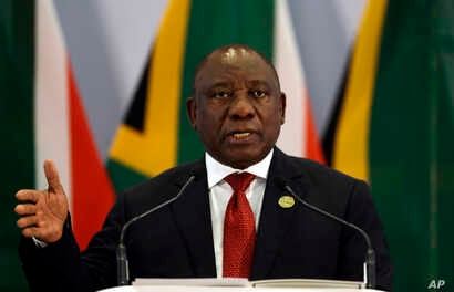 South African President Cyril Ramaphosa addresses a media conference at the end of the BRICS Summit in Johannesburg, South Africa, Friday, July 27, 2018.