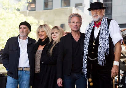 """FILE - John McVie, from left, Christine McVie, Stevie Nicks, Lindsey Buckingham and Mick Fleetwood from the band Fleetwood Mac appear on NBC's """"Today"""" show in New York, Oct. 9, 2014."""