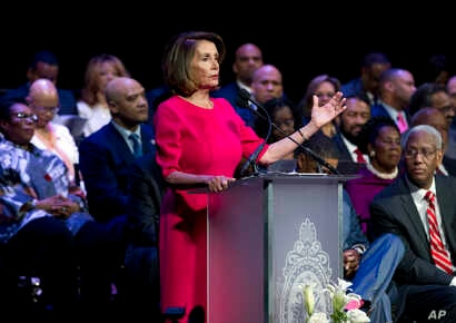 House Minority Leader Nancy Pelosi, D-Calif., speaks during Congressional Black Caucus members swearing-in ceremony of the 116th Congress at The Warner Theatre in Washington, Thursday, Jan. 3, 2019.
